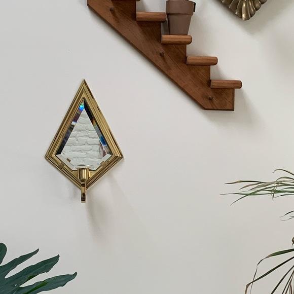 SOLD! Vintage diamond mirror candle holder